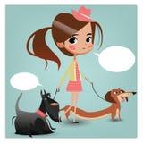 Little cute cartoon girl with dogs Stock Photos