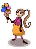 Little Cute Cartoon Girl with an Ice Cream. Royalty Free Stock Photos