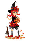 Little cute cartoon Halloween witch. Little cartoon girl in witch costume on Halloween Royalty Free Stock Images