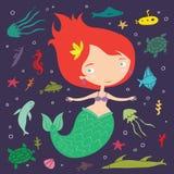 Little Cute Cartoon Mermaid Illustration Stock Image