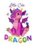 Little cute cartoon pink dragon girl. Vector illustration. stock illustration