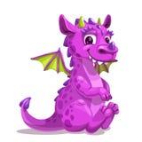 Little cute cartoon purple baby dragon. Vector illustration. stock photos