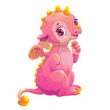 Little cute cartoon sitting pink dragon. Royalty Free Stock Photography
