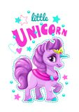 Little cute cartoon unicorn label. Vector girlish print for t shirt design. Sweet pony princess Stock Photo