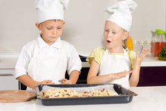 Little Cute Chefs Made Delicious Food Stock Photo