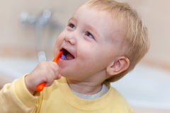 Little cute child brushing her teeth Royalty Free Stock Photography