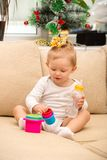 Little cute child girl at home. Royalty Free Stock Photos