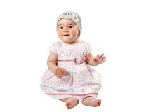 Little cute child girl  isolated on white background. Royalty Free Stock Photography