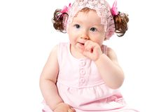 Little cute child girl isolated on white background. Stock Photography