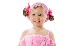Little cute child girl with with pink bows isolated on white background. Royalty Free Stock Images