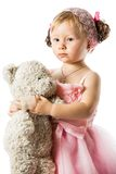 Little cute child girl with teddy bear isolated Royalty Free Stock Photos