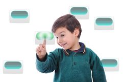 Little cute child pressing digital buttons Royalty Free Stock Photography