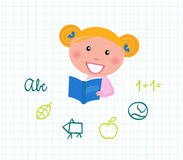 Little cute Child reading Book, School elements. Cute little reading School Girl with Book. Vector Illustration Royalty Free Stock Photography