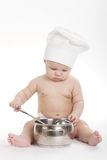 Little cute cook on white background Stock Images