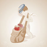 Little Cute Cupid drags a bag with multi-colored hearts, Illustr Royalty Free Stock Photos