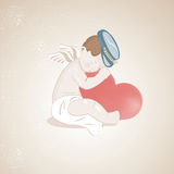 Little Cute Cupid Hugging the Big Heart Royalty Free Stock Photos