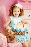 Little cute easer girl  with bunny Stock Photography