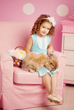 Little cute easer girl  with bunny Royalty Free Stock Photo