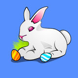 Little cute Easter rabbit with painted egg Stock Photography