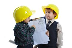 Little cute engineers isolated Royalty Free Stock Image