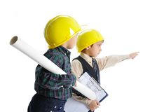 Little cute engineers isolated Stock Photo