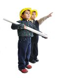 Little cute engineers isolated Royalty Free Stock Photos
