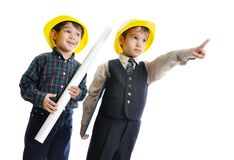 Little cute engineers isolated Stock Image