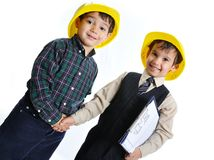 Little cute engineers isolated Royalty Free Stock Photography