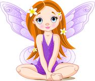 Little cute  fairy. Vector Illustration of cute violet little fairy Stock Photos