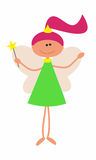 Little Cute Fairy with Magic Wand. Vector Illustration. Stock Photography