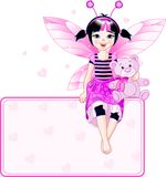 Little cute fairy place card Royalty Free Stock Images