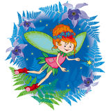 Little cute forest fairy with a magic wand. Among ferns Royalty Free Stock Photo