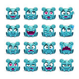 Little cute funny blue alien with different emotions Stock Images