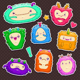 Little cute funny monsters set. Illustration, cartoon characters on dark background Stock Photos