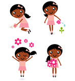 Little cute gardener girl in various poses Royalty Free Stock Photos