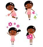 Little cute gardener girl in various poses Royalty Free Stock Photos