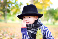 Little cute gentleman in a black hat in autumn park Royalty Free Stock Images