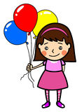 Little cute girl with balloons Stock Images