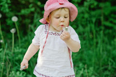 Little cute girl blowing off the dandelion. Outside shoot of toddler girl in white dress and red hat on grass background blowing off the dandelion Stock Image