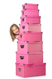 Little cute girl with   boxes Royalty Free Stock Image
