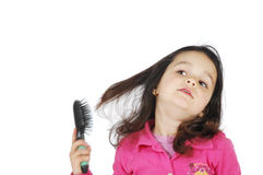 Little Cute Girl Brush The Hair Royalty Free Stock Image