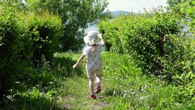 A little cute girl is catching an insect net. A little sweet girl is catching insects with a green scoop-net in the alley next to the river on a sunny summer stock video