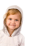 Little cute girl close-up. On white background Royalty Free Stock Photography