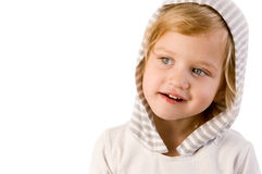 Little cute girl close-up. On white background Stock Image