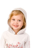Little cute girl close-up on white. Little cute girl with tongue close-up on white background Royalty Free Stock Photo