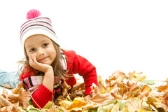 Little cute girl with color leaf Stock Image