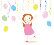 Little cute girl with colorful balloons vector Stock Photography