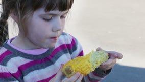 Little cute girl eats boiled corn on cob outdoor stock video