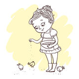 Little cute girl feeding chickens. Hand-drawn contour for children coloring. vector illustration