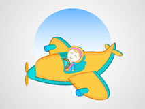 Little cute girl flying colorful Airplane. Royalty Free Stock Photography